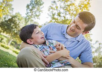 aimer, père, chatouiller, parc, fils