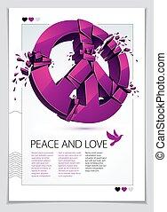 aimer, paix, démonstration, symbole, antiwar, paix, conflicts., rupture, cassé, hippies, aviateur, 60s, vecteur, 3d, contre, illustration, protestation, réunion, morceaux, réaliste, militaire, pacifists