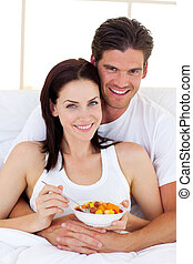 aimer, petit déjeuner, couple, avoir