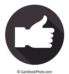 aimer, pouce haut, geste main, icône