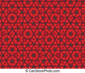 aimer, résumé, fond, fleurs, fractal, rouges