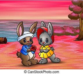 aimer, romantique, lapin, couple, plage
