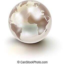 aimer, sur, perle, la terre, précieux, blanc