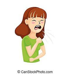 aimer, symptôme, femme, illustration, vecteur, toux, jeune, coronavirus, souffrance