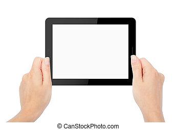 aimer, tablette, ipade, isolé, main, ordinateur pc, backgrounds., blanc