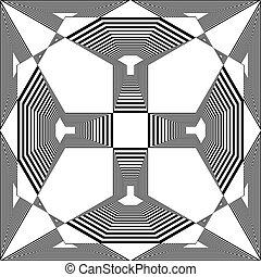 aimer, tridimensional, magnétique, pseudo, illusion, fond, arabesque, escalier, transparent, bouclier