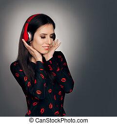 aimez chanson, écouteurs, écoute, girl, rouges