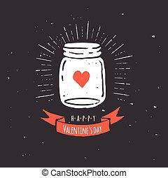 aimez coeur, citation, pot, maçon, noir, tableau