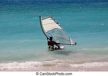 a windsurfer off the coast of Barbados
