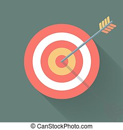 Aiming concept, the arrow in bulls eye