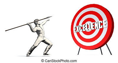 Aiming For Excellence with Bullseye Target on White