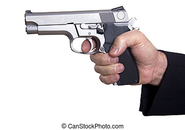 Aiming Loaded Gun - Close Up