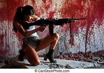 mercenary - Aiming mercenary with light submachine gun on ...