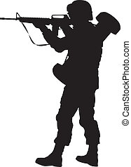 Soldier with rifle aiming. Detailed vector silhouette