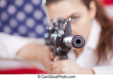 aiming with machine gun