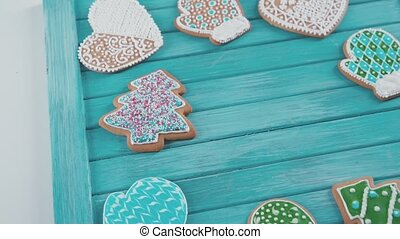ainted gingerbread. Homemade cookies for Christmas.
