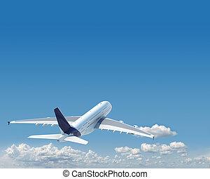 aiplane, 由于, 模仿空間, 在, the, 天空