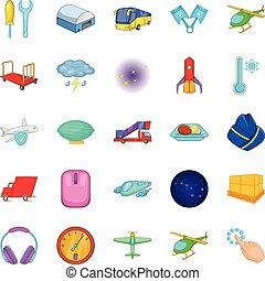 Air adventure icons set, cartoon style