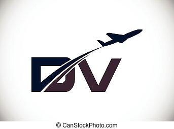 air, aviation, voyage, template., avion, lettre, logo, ligne aérienne, initiale, conception, d, v