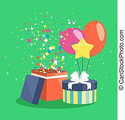 Air Ball Balloon Giftbox Gift and Confetti on Green