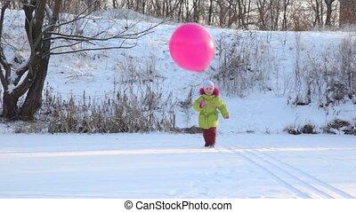 air-balloon, девушка, игры, снежная равнина