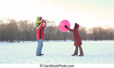 air-balloon, играть, парк, семья