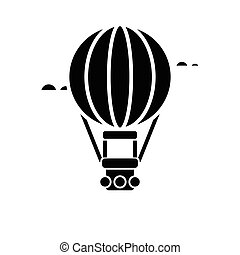 air balloon - aerostat icon, vector illustration, black sign on isolated background
