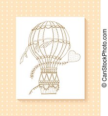 Air balloon and doodle heart. Zentangle inspired pattern with aerostat for coloring book for adults and kids.