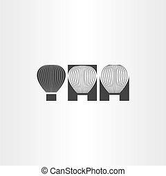 air balloon black icon set
