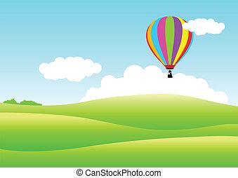 Air Balloon - Vector illustration of an air balloon floating...