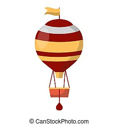 Air balloon decorated with flags isolated on white background.
