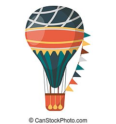 Air balloon decorated with flags isolated on white background