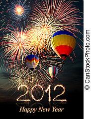 air-balloon, fogos artifício, quentes, ano, novo, 2012