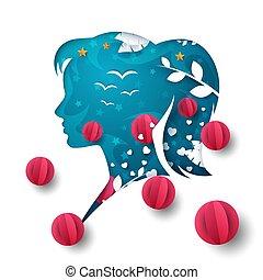 Air balloon, girl head illustration. Cartoon air landscape.