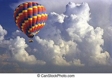 Air balloon - Hot air balloon in stormy sky.