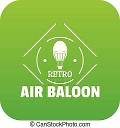 Air balloon icon green vector