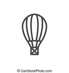 Air balloon icon vector. Outline fly transport. Line hot balloon symbol.