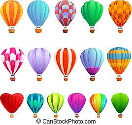 Air balloon icons set, cartoon style