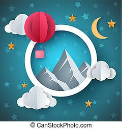 Air balloon illustration. Cartoon paper landscape.
