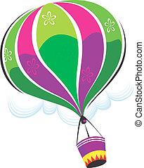 Air balloon - Illustration of a hot air balloon in air