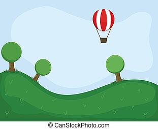 Air Balloon in Green Land Vector