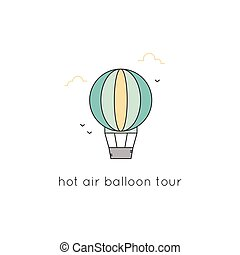 Air balloon line icon