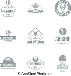 Air balloon logo set, simple style