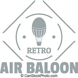 Air balloon logo, simple gray style