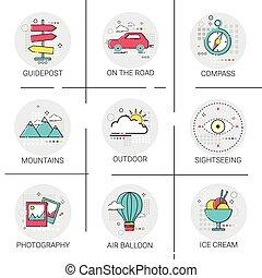 Air Balloon Mountains Car Trip Travel Tourism Icon Set Holiday Vacation