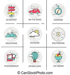 Air Balloon Mountains Car Trip Travel Tourism Icon Set Holiday Vacation