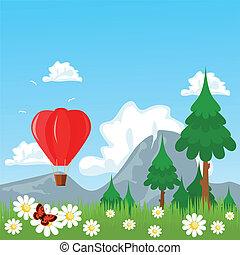 Air balloon nature theme