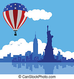 AIR BALLOON NEW YORK - An illustration of New York City ...