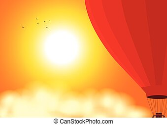 Air balloon on the air at sunset