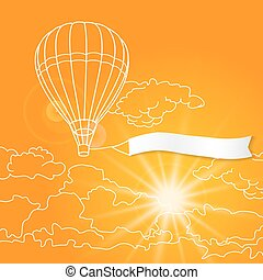 Air balloon with blank banner flying in the sunny orange clouds sky vector illustration